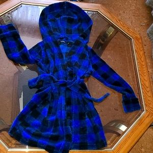 Hooded 6X robe unisex blue/black plaid EUC